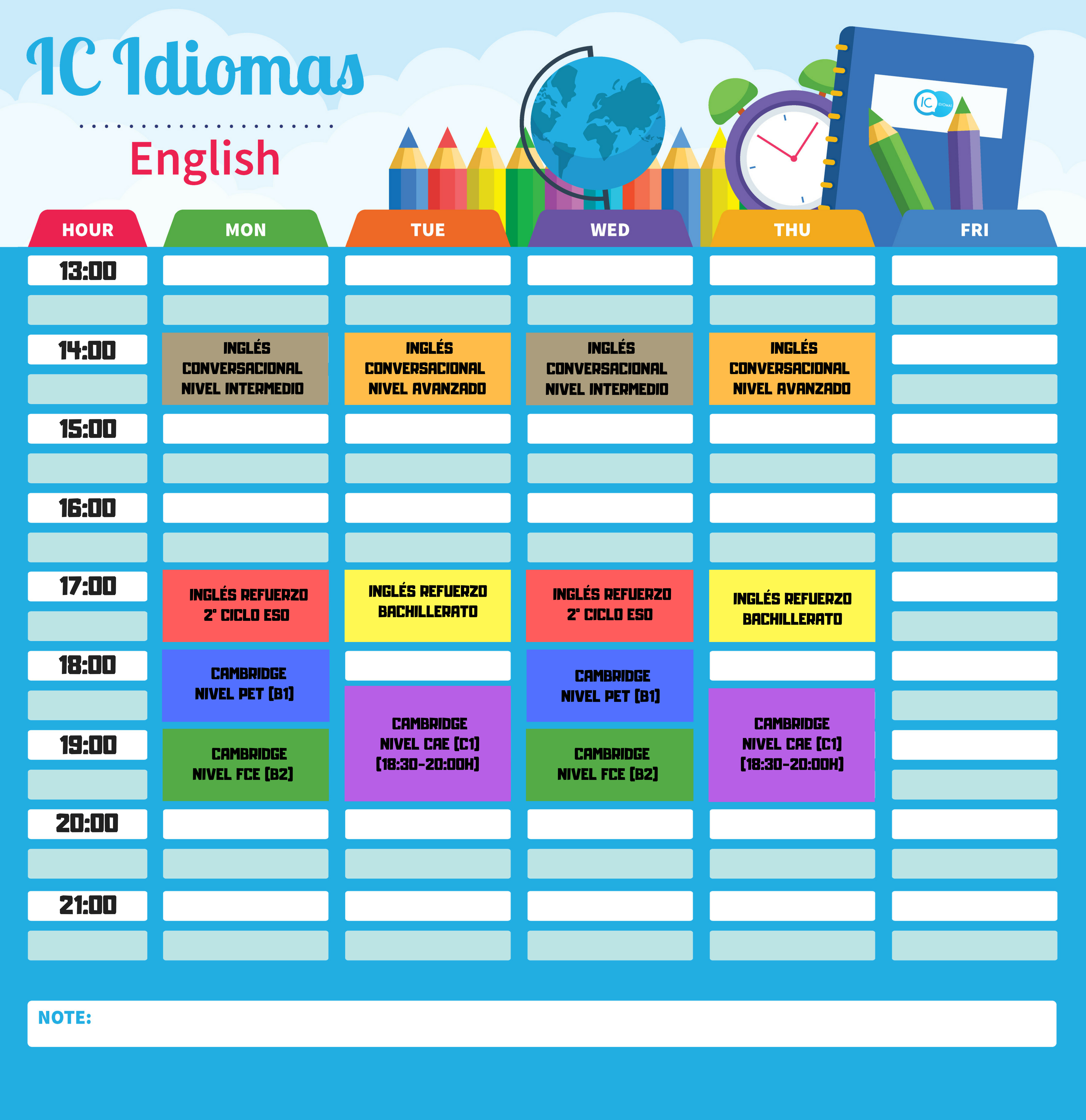 calendario madrid inglés