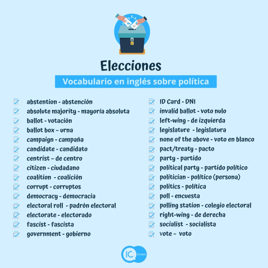 vocabulario de política en inglés